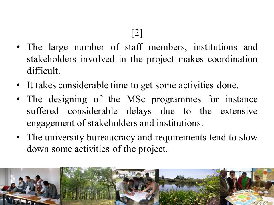 [2] The large number of staff members, institutions and stakeholders involved in the project makes coordination difficult.